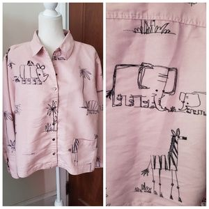 CHICO'S long sleeve animal sketch button down top